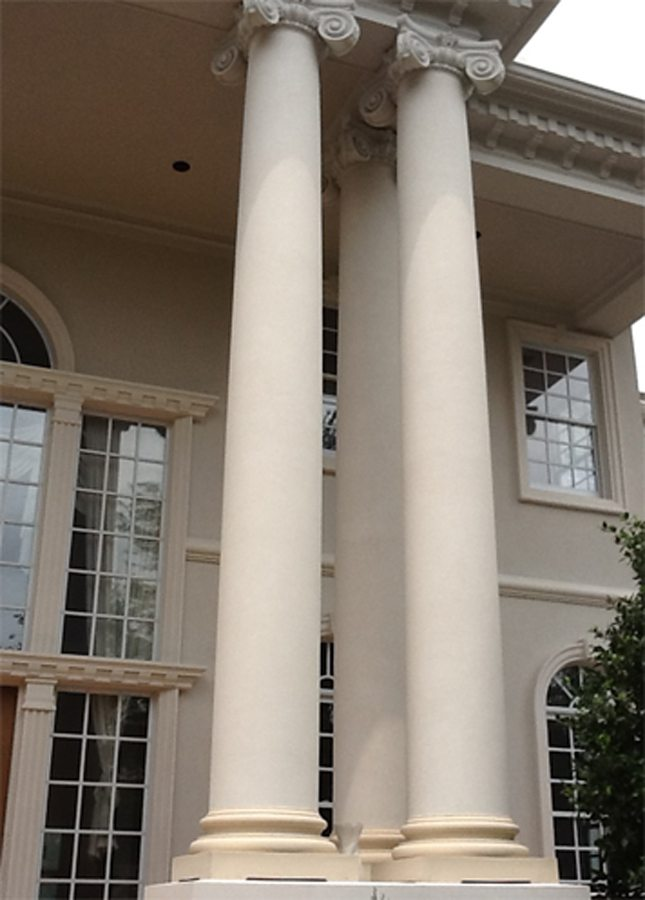 Colonial style stave stucco columns parks plaster stucco for Stucco columns